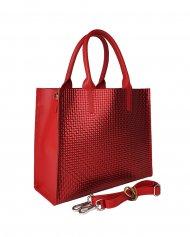 Dámská kožená kabelka FACEBAG LUSSA - Červená s pleteným vzorem