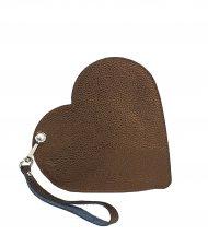 Elegantní dámské kožené psaníčko do ruky FACEBAG srdce - Metalická hnědá