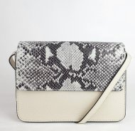 Dámská italská kožená kabelka 3298 - Béžová s hadím vzorem