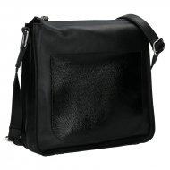 Dámská kožená kabelka FACEBAG LOREN - Černá hladká s lakovou kapsou
