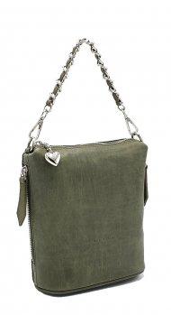 Kožená kabelka Emma I. zelená vintage