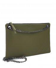 Elegantní dámská kožená kabelka FACEBAG ERIN - Tmavá zelená hladká