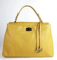 Dámská italská kožená kabelka 3286 - Tmavá žlutá *dolaro*