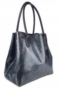 Dámská kožená kabelka FACEBAG TINA - Černá lak s hadím vzorem