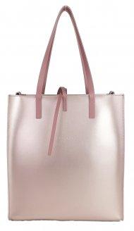 Dámská kožená kabelka FACEBAG REIMS - Metalická růžová + starorůžová *ruga*
