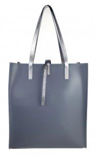 Dámská kožená kabelka FACEBAG REIMS - Tmavá šedá + stříbrná *ruga*