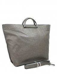 Dámská kožená kabelka FACEBAG TALIA - Tmavá šedá hladká