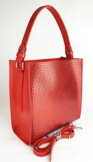 Dámská kožená kabelka FACEBAG ANGE - Červená s pleteným vzoem *ruga*
