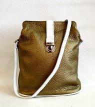 Dámská kožená kabelka FACEBAG ANNA - Metalická zelená + bílá