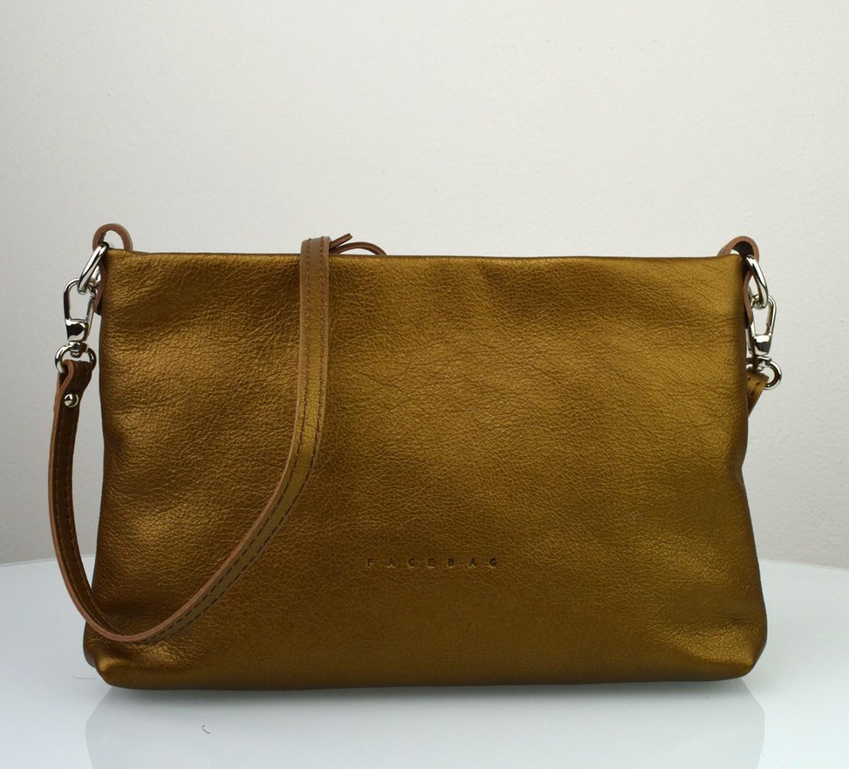 Dámská kožená kabelka FACEBAG MAXA - Metalická hnědá