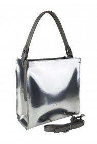 Dámská kožená kabelka FACEBAG ANGE - Stříbrná lak
