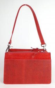Dámská italská kožená kabelka 3314 - Červená s pleteným vzorem