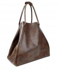 Dámská kožená kabelka FACEBAG MEDA - Tmavá hnědá hladká