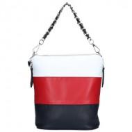Dámská kožená kabelka FACEBAG EMMA II. - Modrá-Červená-Bílá