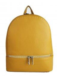Designový kožený batůžek FACEBAG CANDY - Tmavá žlutá hladká
