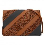 Dámská kožená kabelka FACEBAG MONACO - Hnědá + leopardí vzor