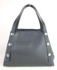 Dámská italská kožená kabelka RIPANI 8593 SH 003 MALVA - Černá + šedá had *ruga*