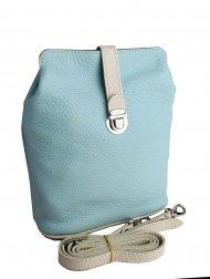 Dámská kožená kabelka FACEBAG ANNA - Mentolová + béžová *dolaro*