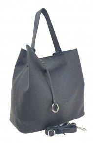Dámská kožená kabelka FACEBAG BETH - Černo-šedá hladká
