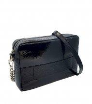 Dámská kožená kabelka FACEBAG NINA - Černá lak s hadím vzorem
