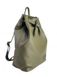 Dámský kožený batoh FACEBAG ELMA - Tmavá zelená hladká