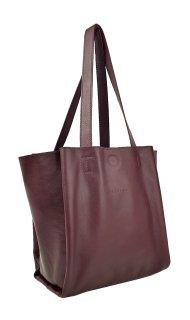 Dámská kožená kabelka FACEBAG BELLA - Vínová hladká