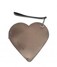 Elegantní dámské kožené psaníčko do ruky FACEBAG srdce - Metalická hnědá hladká