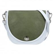 Dámská kožená kabelka FACEBAG LILI - Bílá + zelená