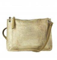 Dámská kožená kabelka FACEBAG - CANNET - Zlatá s hadím vzorem