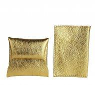 Kožený set mincovníku a pouzdra na karty FACEBAG - Zlatá