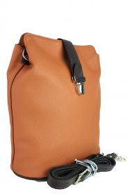 Dámská kožená kabelka FACEBAG ANNA - Cuoio + tmavá hnědá hladká