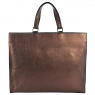 Dámská kožená kabelka FACEBAG BUSSY - Metalická hnědá
