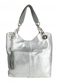 Dámská kožená kabelka FACEBAG AGATA - stříbrná