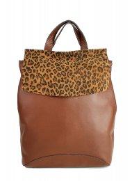 Designový kožený batůžek FACEBAG KENNY 8018 - Cuoio + srst leopard