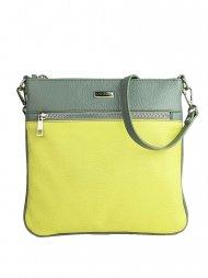 Dámská kožená kabelka FACEBAG VILMA - Žlutá + šedá *dolaro*