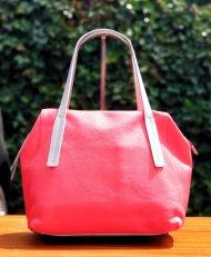 Dámská kožená kabelka FACEBAG LENNA - Korálo + šedá