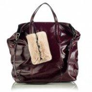 Dámská italská kožená kabelka RIPANI 8502 QN 010 ZAMIA - Metalická vínová