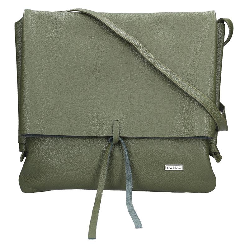 Dámská kožená kabelka FACEBAG SANDRA - Tmavá zelená