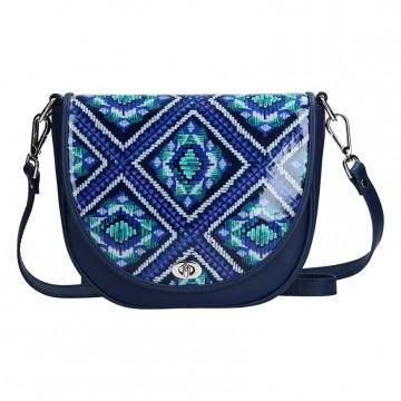 Dámská kožená kabelka FACEBAG LILI - Modrá s ornamenty