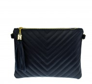 Dámská kožená kabelka - psaníčko prošívané 2934  modré
