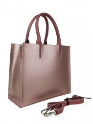 Dámská kožená kabelka FACEBAG LUSSA - Metalická růžová hladká