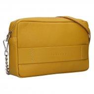 Dámská kožená kabelka FACEBAG NINA  - Tmavá žlutá hladká