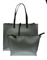 Dámská kožená kabelka FACEBAG 2v1 CHERI 1 - Stříbrná