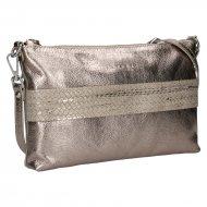 Dámská kožená kabelka FACEBAG MARY - Zlatá hladká + pletené zlato