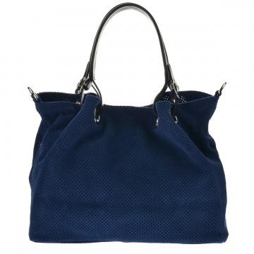 Dámská italská kožená kabelka BONNA - Tmavá modrá perfor semiš