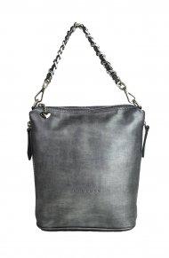 Dámská kožená kabelka FACEBAG EMMA II. - Stříbrná hladká