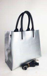 Dámská kožená kabelka FACEBAG LUSSA - Stříbrná + černá *ruga*