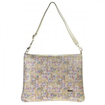 Dámská kožená kabelka FACEBAG EDIA - Smetanová + mozaika