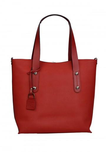 Dámská kožená kabelka FACEBAG IRENE - Červená