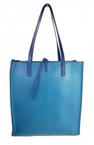 Dámská kožená kabelka FACEBAG REIMS - Modrá oboustranná